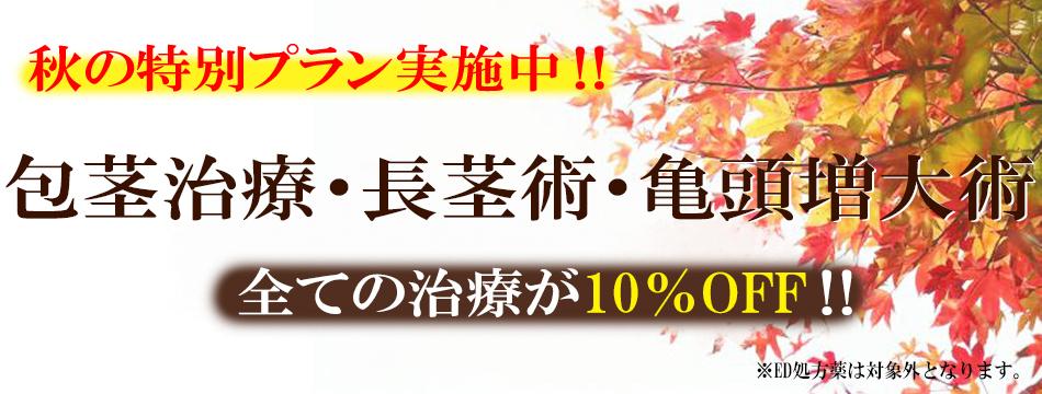 Autumn Campaign 2021 サマーキャンペーン  治療費10%OFF!! ※ED処方薬は対象外となります。